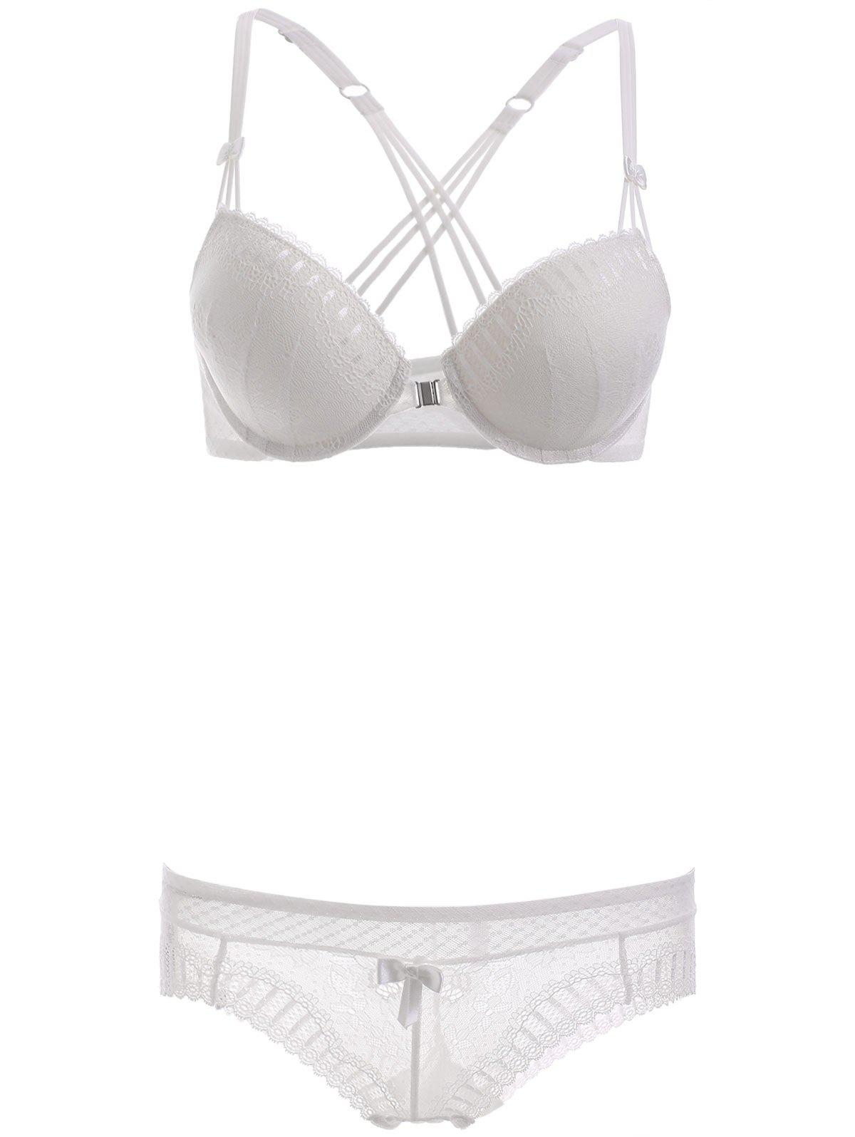 Front Closure Strappy Bra Set with Lace - WHITE 85C