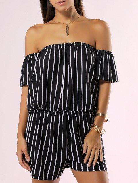 Off The Shoulder Backless Striped Romper - BLACK L