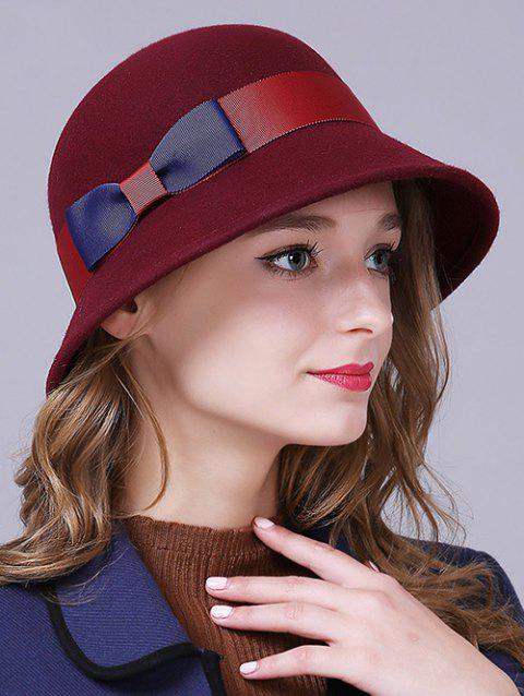 Stylish Bowknot Wool Bucket Hat - CLARET