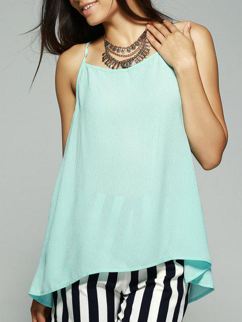 Fashionable Bowknot Decorated Chiffon Tank Top For Women - LIGHT BLUE S