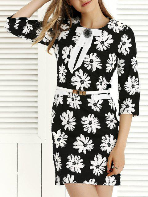 3/4 Sleeve Skinny Floral Print Dress - BLACK M