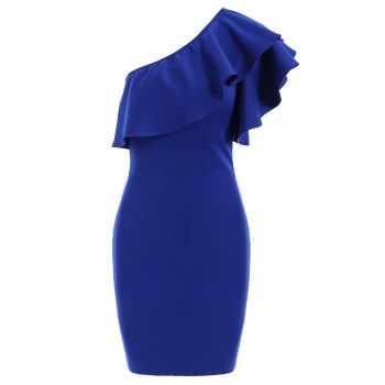 Stylish Women's One Shoulder Ruffled Sleeveless Bodycon Dress