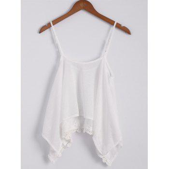 Sexy Spaghetti Strap Sleeveless Lace Splicing Asymmetrical White Women's Tank Top - OFF-WHITE L