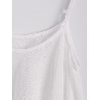 Sexy Spaghetti Strap Sleeveless Lace Splicing Asymmetrical White Women's Tank Top - M M