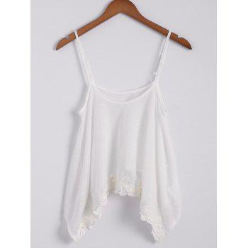 Sexy Spaghetti Strap Sleeveless Lace Splicing Asymmetrical White Women's Tank Top - OFF WHITE OFF WHITE