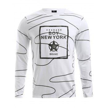 Buy BoyNewYork Irregular Stripes Pattern Long Sleeves T-Shirt WHITE