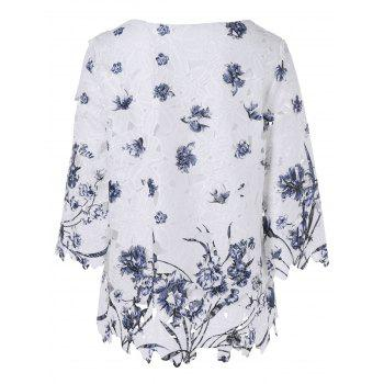 Elegant Scoop Neck Laced Floral Crochet Blouse - WHITE ONE SIZE(FIT SIZE XS TO M)