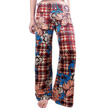 Houndstooth Flowers Wide Leg Palazzo Pants