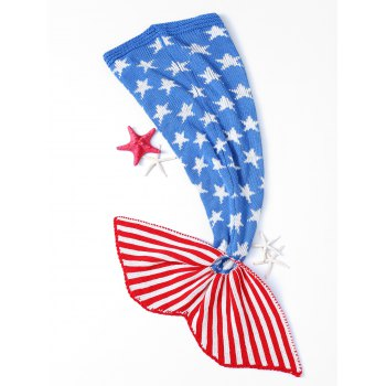 Stars and Stripes Pattern Crochet Mermaid Blanket - COLORMIX