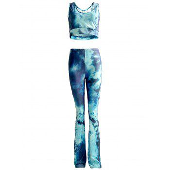 Chic Tie Dye Tank Top and High Waist Pants Set For Women
