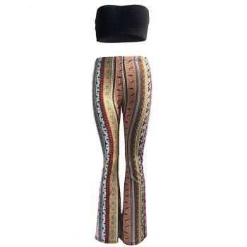 Ethnic Tube Top and High Waist Bootcut Pants Set For Women