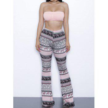 Ethnic Padded Tube Top and Printed Bootcut Pants Set For Women