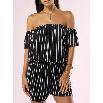 Off The Shoulder Backless Striped Romper