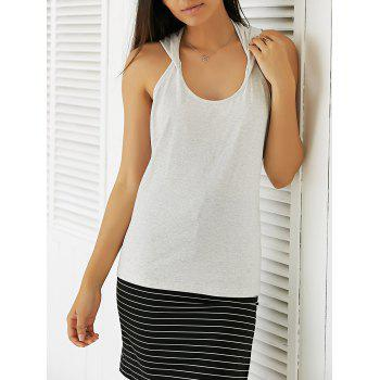 Casual Women's Slimming Round Neck Backless Top