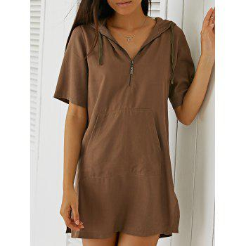 Fashionable Pocket Design Short Sleeve Hooded Dress For Women