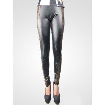 Fashionable Leather Leopard Leggings For Women