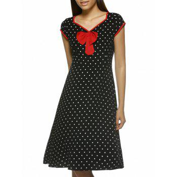 Chic Polka Dot Cap Sleeve V-Neck Dress For Women