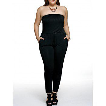 Vertical Pocket Strapless Plus Size Jumpsuit
