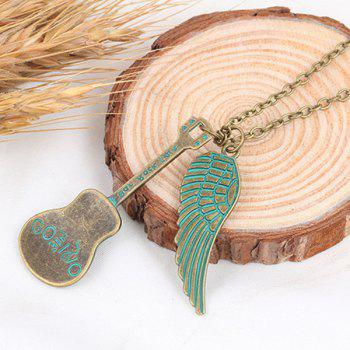 Love Guitar Angel Wing Necklace - GREEN