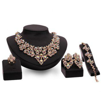 A Suit of Hollow Out Rhinestoned Water Drop Jewelry Set