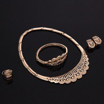A Suit of Hollow Out Wedding Jewelry Set - GOLDEN ONE-SIZE