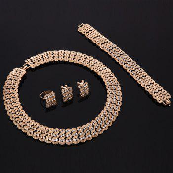 A Suit of Rhinestoned Alloy Hollow Out Wedding Jewelry Set - GOLDEN ONE-SIZE
