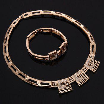 A Suit of Geometric Alloy Wedding Jewelry Set - GOLDEN ONE-SIZE