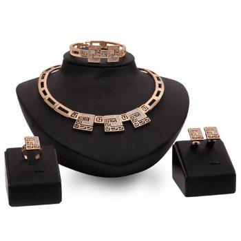 A Suit of Geometric Alloy Wedding Jewelry Set