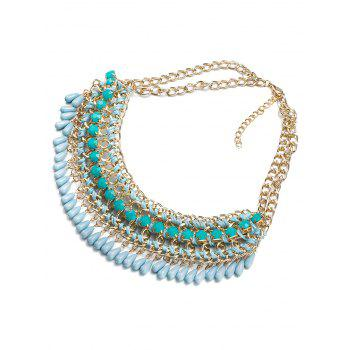 Bohemian Style Water Drop Chains Necklace - BLUE