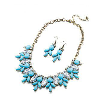 Faux Resin Crystal Necklace and Earrings - LAKE BLUE