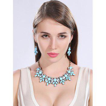 Faux Resin Crystal Necklace and Earrings