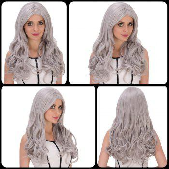 Long Middle Part Wavy Silver Grey Women's Charming Cosplay Lolita Synthetic Wig