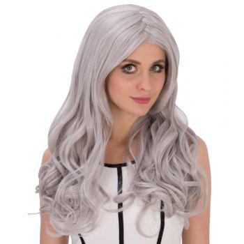 Long Middle Part Wavy Silver Grey Women's Charming Cosplay Lolita Synthetic Wig - SILVER GRAY