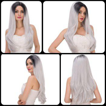 Long Side Parting Tail Adduction Black Mixed Gray Women's Stunning Cosplay Lolita Synthetic Wig
