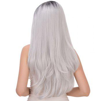 Long Side Parting Tail Adduction Black Mixed Gray Women's Stunning Cosplay Lolita Synthetic Wig - BLACK/GREY
