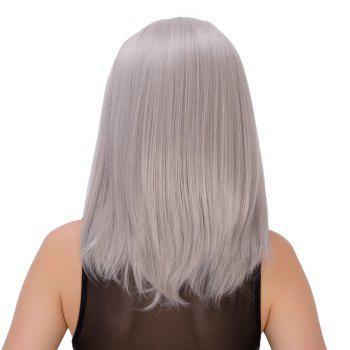 Medium Middle Part Silver Gray Straight Endearing Women's Cosplay Lolita Synthetic Wig - SILVER GRAY