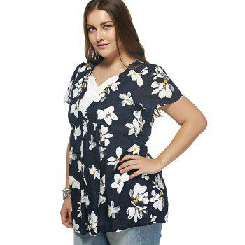 Refreshing Flower Print Spliced Plus Size Blouse - DEEP BLUE XL