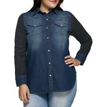 Classic Mid-Wash Denim Spliced Shirt