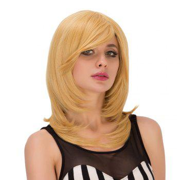 Tail Adduction Medium Golden Side Bang Fascinating Synthetic Wig For Women - GOLDEN