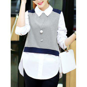 Trendy Knitted Vest Splicing High Low Furcal Shirt For Women