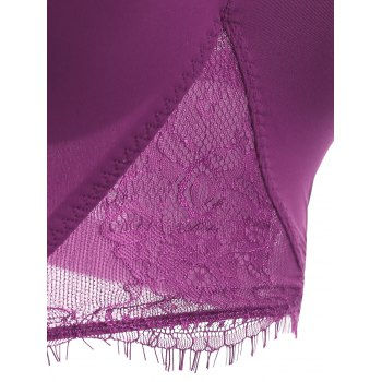 Brief Women's Spaghetti Strap Lace Splicing Bra Set - PURPLE 75B