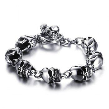 Simple Burnished Skulls Bracelet For Men