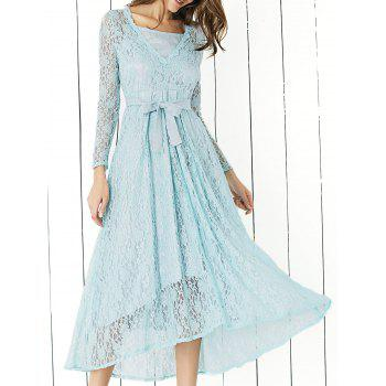 Lace Long Sleeve Swing Evening Dress