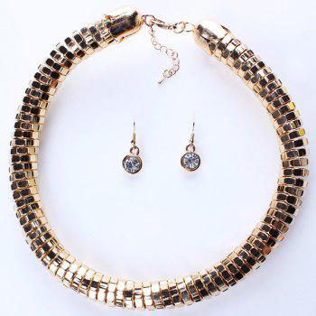A Suit of Punk Chain Statement Necklace and Earrings For Women - GOLDEN