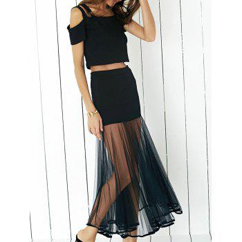 Graceful Cold Shoulder Crop Top and Tulle Spliced Skirt Twinset For Women