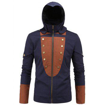 Color Splicing Rivet Embellished Zip Up Long Sleeve Men's Hooded Jacket