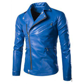 Zippered Solid Color Snap Buttoned Long Sleeve Men's Faux Leather Jacket