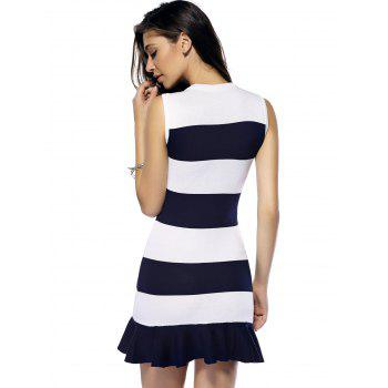 Striped Flounce Sleeveless Sweater Dress - STRIPE ONE SIZE