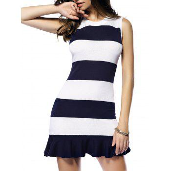 Striped Flounce Sleeveless Sweater Dress