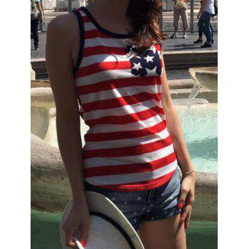Trendy U Neck Star Print Striped Women's Tank Top